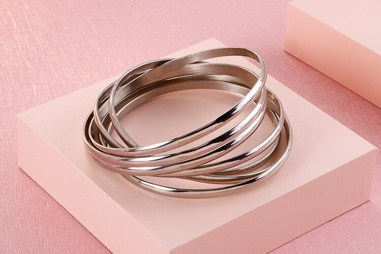 Multi Layer Bangles For Women High Quality 316L Stainless Steel Woman Bracelet Femme Bangles Ladies Jewellery Female Wristbands