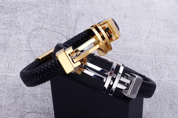11MM Braided Genuine Leather Bracelet Men Gold Stainless Steel Mens Charm Bracelets 2020 Handmade Male Jewelry Wrist Band Men