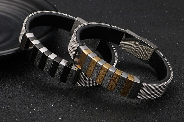 Black Stainless Steel Braided Chain Mens Bracelets 2020 Wrap Leather Bracelet For Men Best Friends Jewelry Gifts For Him