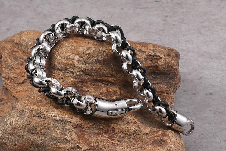 TrustyLan New 10MM Wide 316L Stainless Steel Bracelet Men Fashion Woven Leather Chain & Link Mens Bracelets & Bangles Wristband