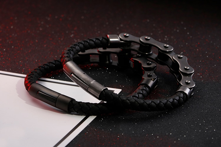 Vintage Brand New Frosted Stainless Steel Bike Chain Bracelet Men Bicycle Motorcycle Mens Leather Bracelets Jewelry Ghost Rider