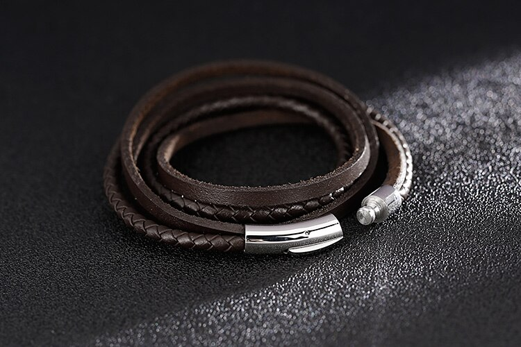Multi-Layer Design Charm Cuff Bangle For Men Handmade Braided Brown Genuine Leather Mens Bracelets Gifts For Husband Dropship