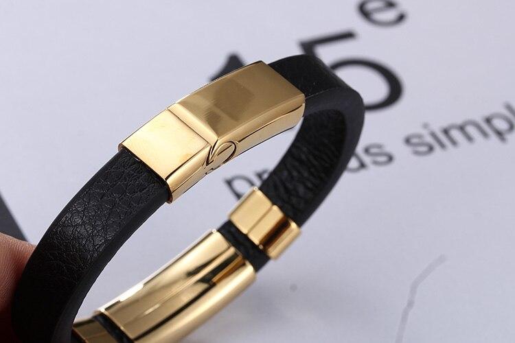 14MM Leather Men's Wrap Bracelets Armband Heren With Magnet Clasp Elegant ID Bracelet For Men Free Logo Name Maker Engrave