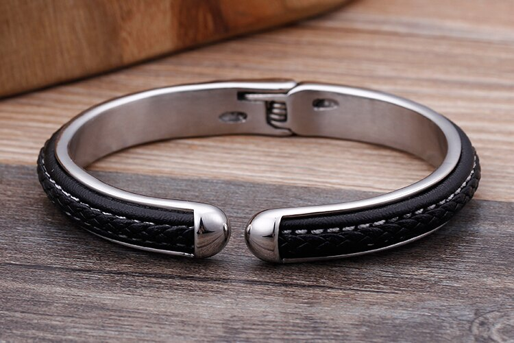 10MM Braided Genuine Leather Bracelet Men 316L Stainless Steel Wrap Bangles Friendship Mens Bracelets Male Hand Jewelry Gifts
