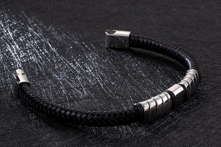 Gold Stainless Steel Friendship Mens Bracelets 2020 Braided Black Leather Rope Chain Wrap Bracelet Men Bangle With Magnet Clasp