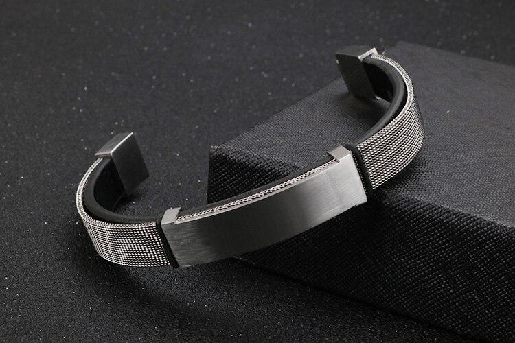 Golden Stainless Steel Braided Chain Mens ID Bracelets Wrap Leather Bracelet For Men Best Friends Boyfriend Jewelry Logo Engrave