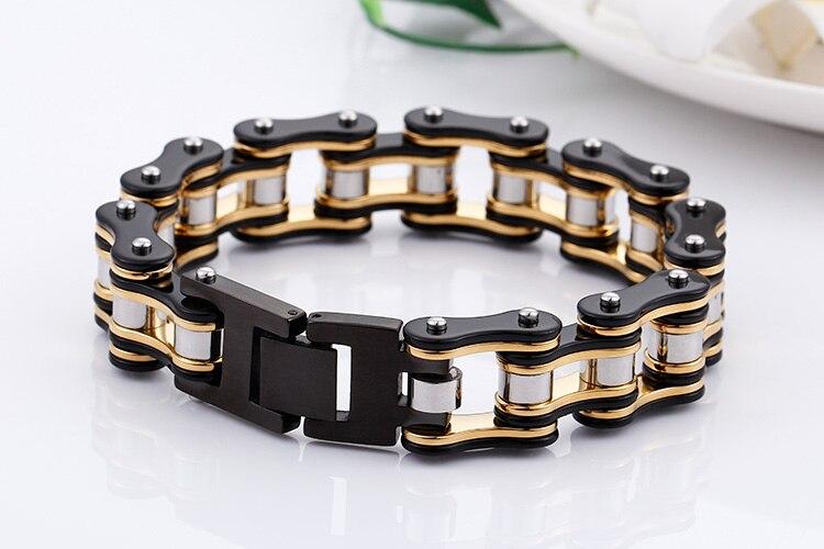 TrustyLan New Punk Rock Bicycle Chain Bracelet 16MM Wide Stainless Steel Mens Bracelets Bangles 2018 Best Friend Jewelry