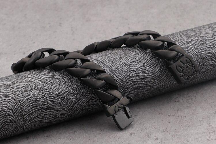 TrustyLan New Punk Rock Black Stainless Steel Best Friend Chain Bracelet Men Fashion Men's Bracelets For Man Gothic Jewelry