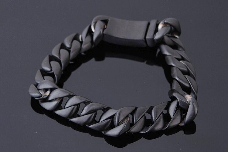 Fashion Mens Bracelets 2018 Men Bracelet Male In Black Plated Stainless Steel Heavy Metal Hand Chain Friendship Jewellery New