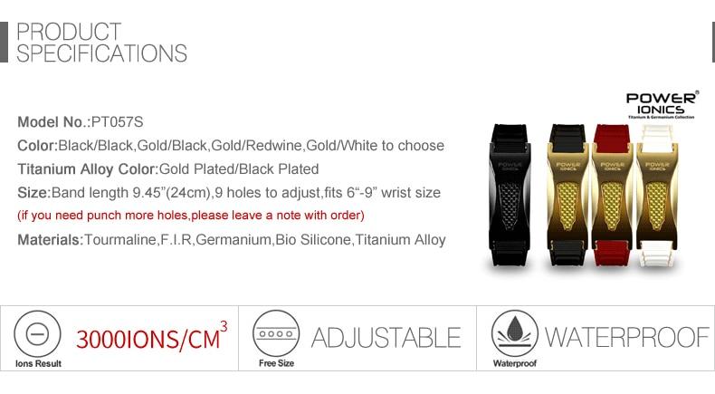 Power Ionics 3000 Ionen/Cc Ironman Titanium Germanium Fir Carbon Fiber Bio Golf Horloge Armband Polsband Gratis Belettering Geschenken