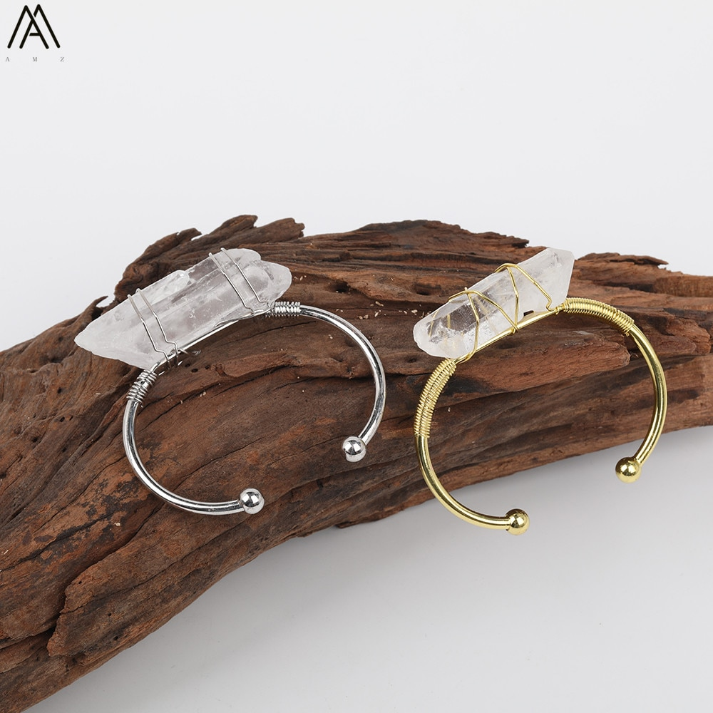 Fashion Women Crystal Open Bangle Jewelry Natural White Quartz Stick Point Wire Wrapped Gold Silvery Copper Cuff Bangle Bracelet