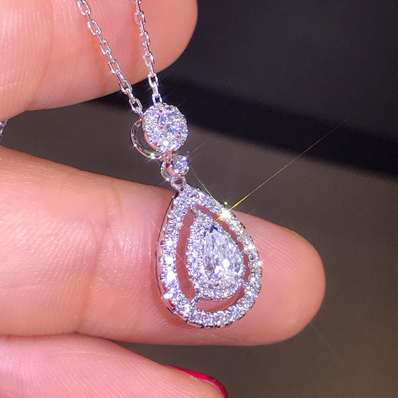 Luxury Female Water Drop Pendant Necklace Cute Silver Color Zircon Long Necklace Fashion Bride Wedding Necklaces For Women