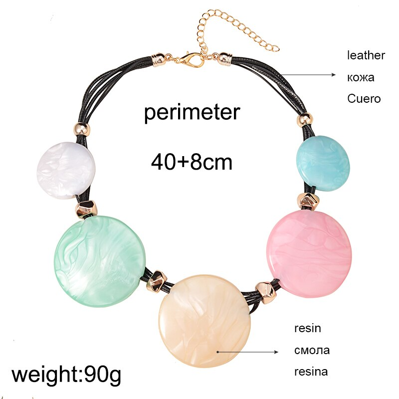 UDDEIN multi layer black leather chain big order price color resin gem statement choker necklace women bohemian maxi necklace