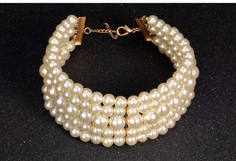 UDDEIN 3 Color Choker New Multi-layer Pearl Jewelry Vintage Statement Choker Necklace & Pendant Luxury Women Fashion Necklace