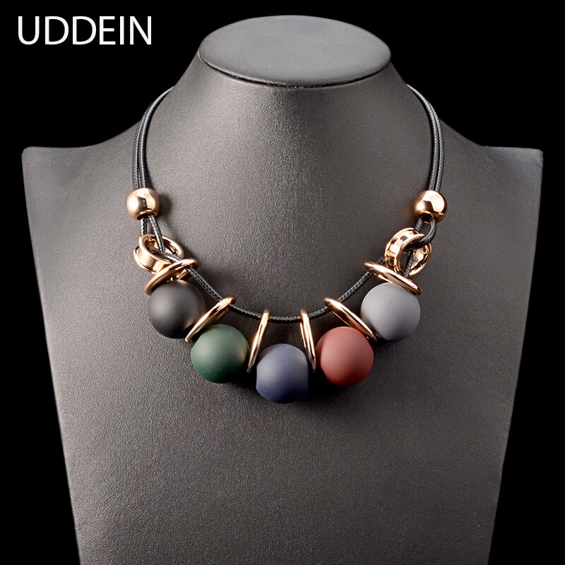 UDDEIN Black leather chain plastic gem statement choker necklace & pendant party jewelry gift collier vintage maxi necklace