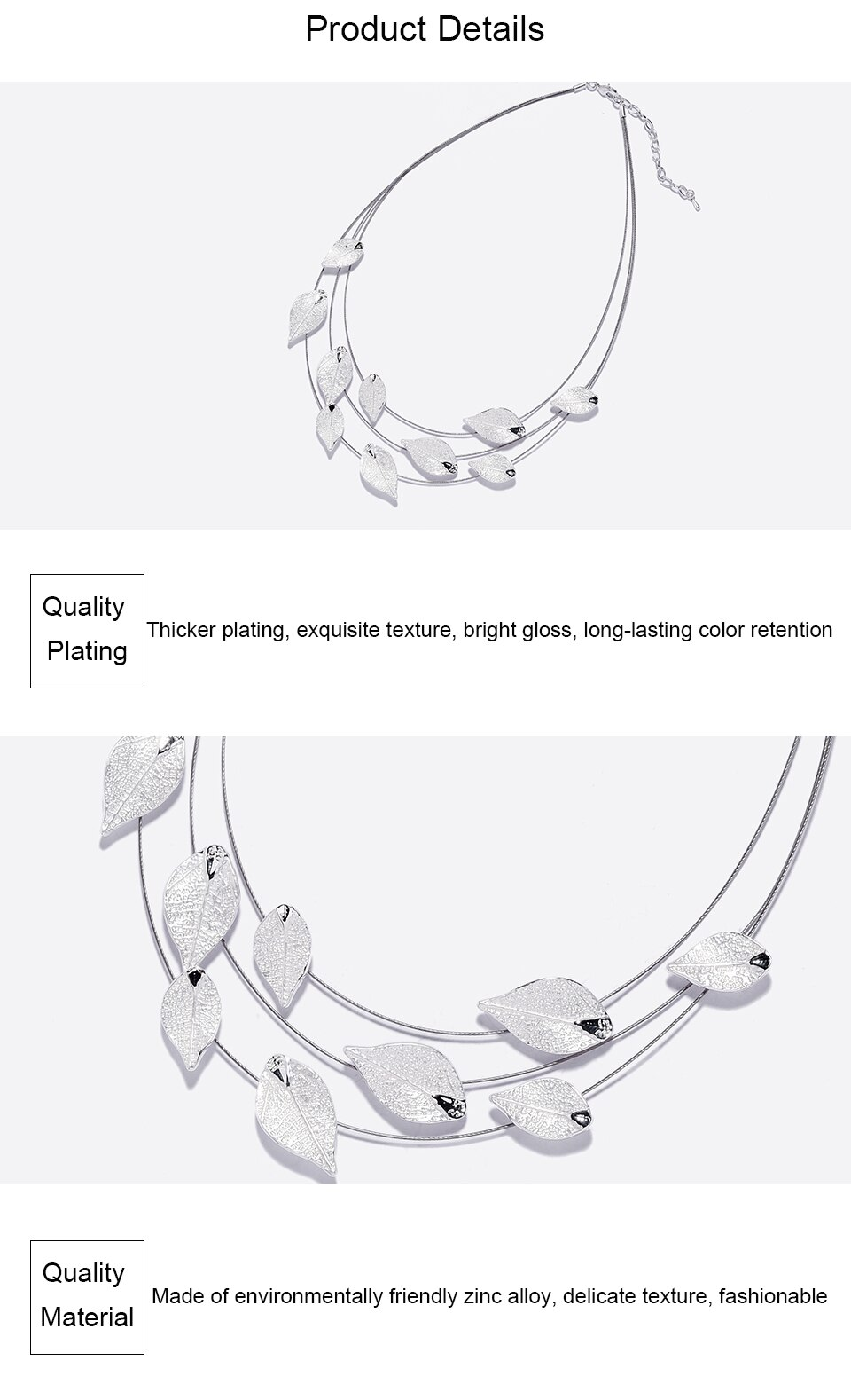 Cring Coco 2020  High Quality Alloy Multilayer Necklace for Women Classic Silver Color Leaf Choker Girl Friend Birthday Gifts