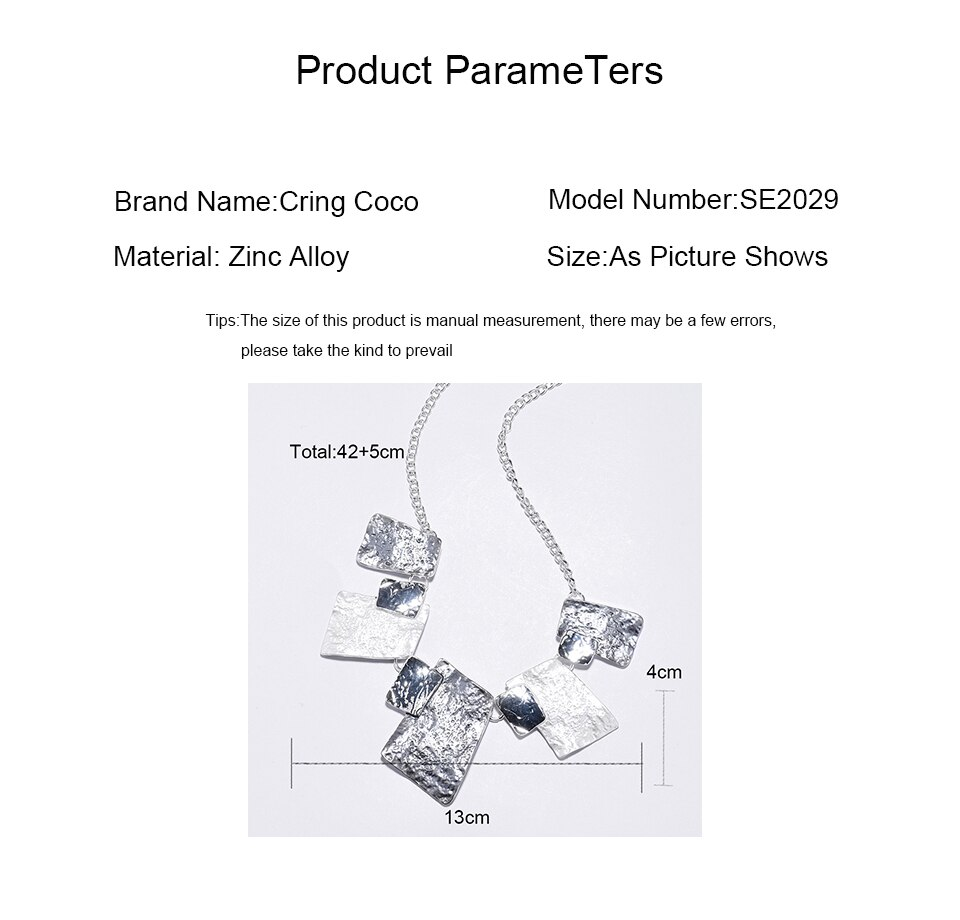 Cring Coco 2020 Best-selling Geometric Choker Necklaces for Fashion Girls Gift Classic Boho Jewelry Custom Zinc Alloy Necklace