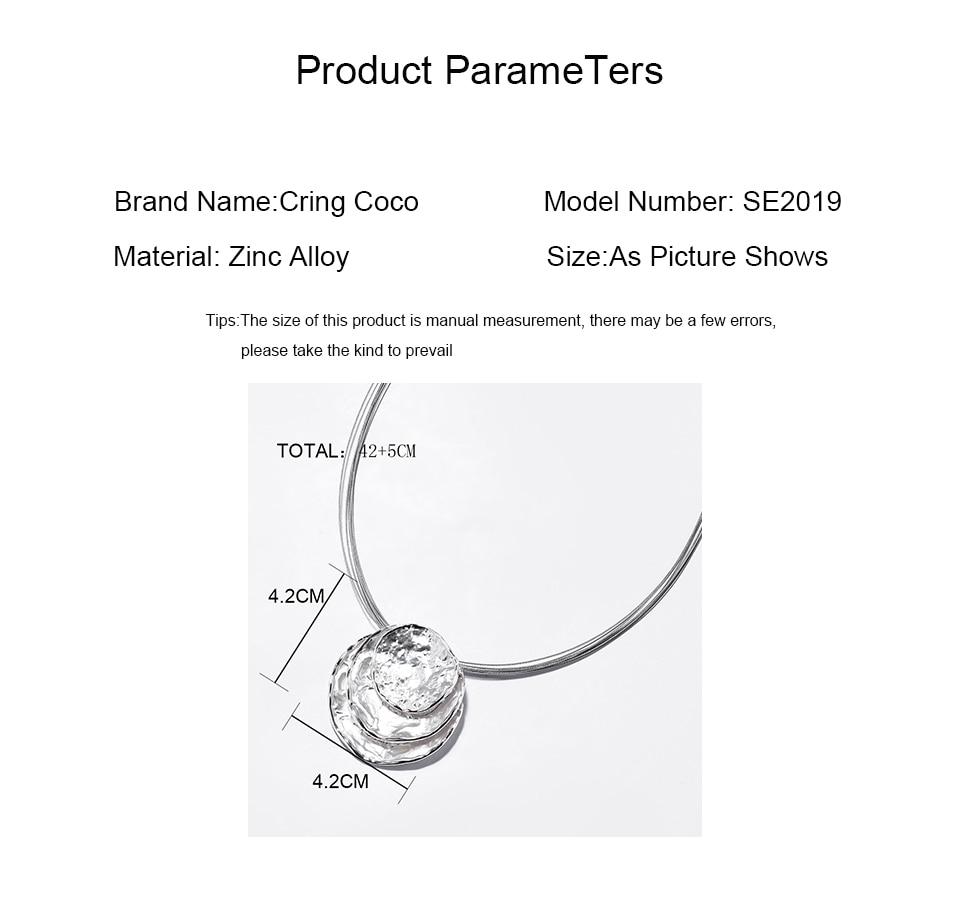 Cring Coco Big Round Pendant Necklace for Women Trendy Geometric Alloy Choker Necklaces Party Wedding Jewelry Friends Gifts 2020