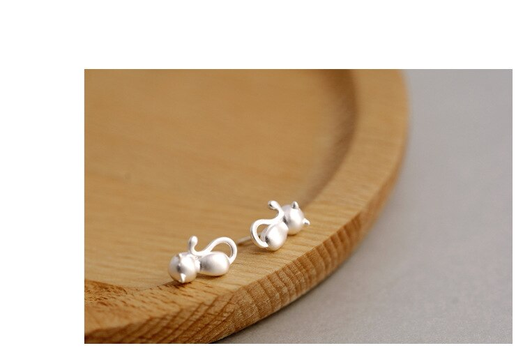 Original Matte Female Simple Sweet Fashion Animal 925 Sterling Silver Jewelry Cute Cat Personality Stud Earrings  SE28