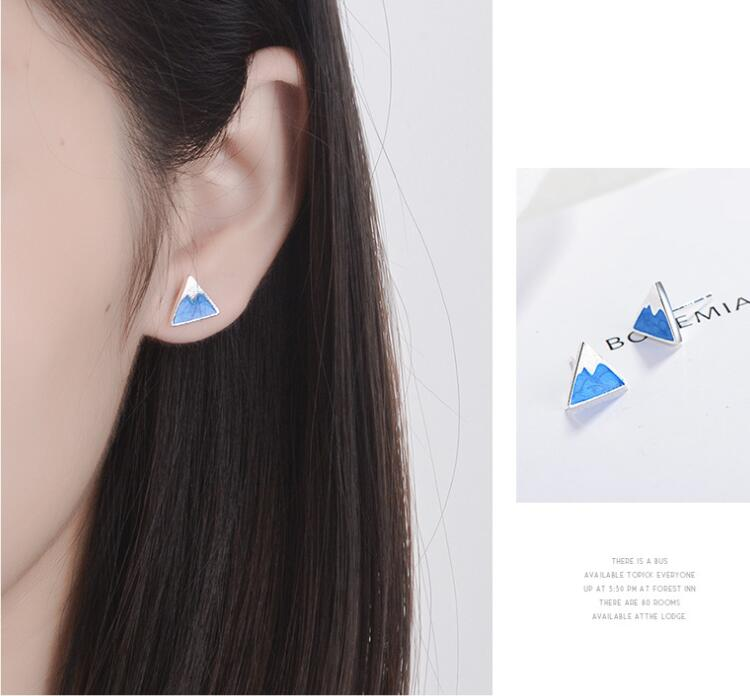 Creative New Fashion 925 Sterling Silver Jewelry Blue Triangle Geometry Snow Mountain Fresh Cute Female Stud Earrings SE496
