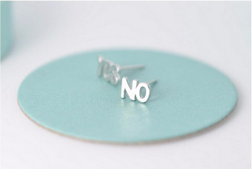Asymmetric Alphabet 925 Sterling Silver Jewelry Anti-allergic Letters Yes And No Personality Exquisite Earrings  SE44