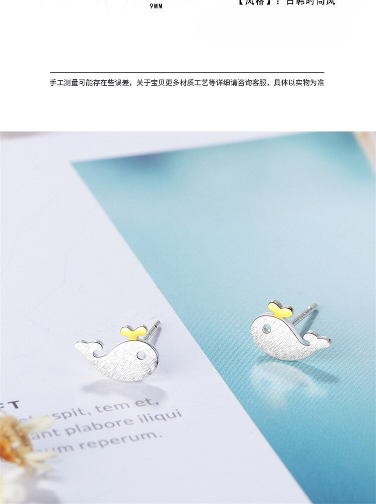 Beautiful New Fashion Sweet Brushed Cute Animal 925 Sterling Silver Jewelry Whale Fish Dolphins Exquisite Stud Earrings SE631