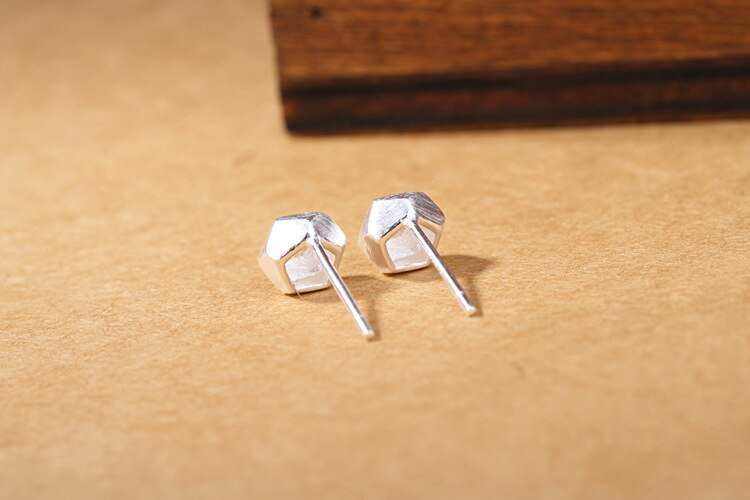 New Fashion Simple Popular 925 Sterling Silver Jewelry Brushed Square Hypoallergenic Women Geometric Stud Earrings SE778