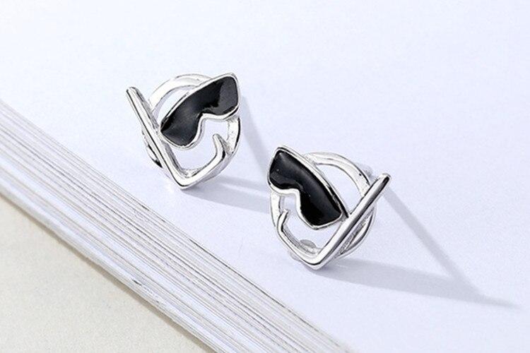 New Creative Personality Scuba 925 Sterling Silver Jewelry Fashion Cute Cartoon Black Epoxy Sunglasses Stud Earrings  SE950
