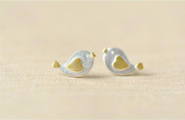 Personality Cute Animal 925 Sterling Silver Jewelry Brushed Bird Heart-shaped Stud Earrings Wholesale   SE20