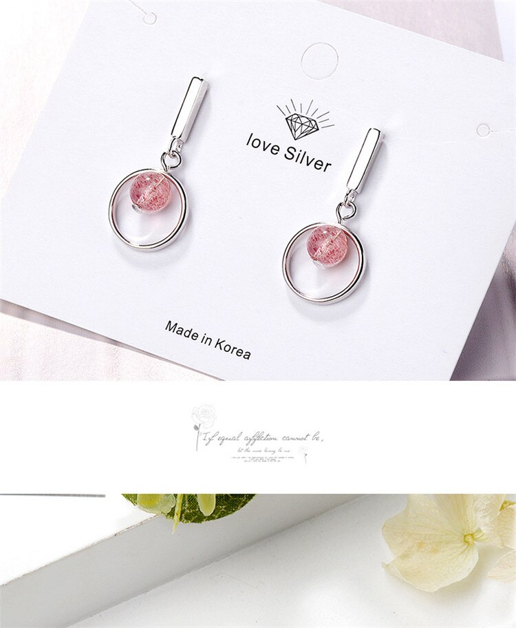 New Personality Round Ball Strawberry Crystal 925 Sterling Silver Jewelry Pink Stroke Peach Women Dangle Earrings  SE650