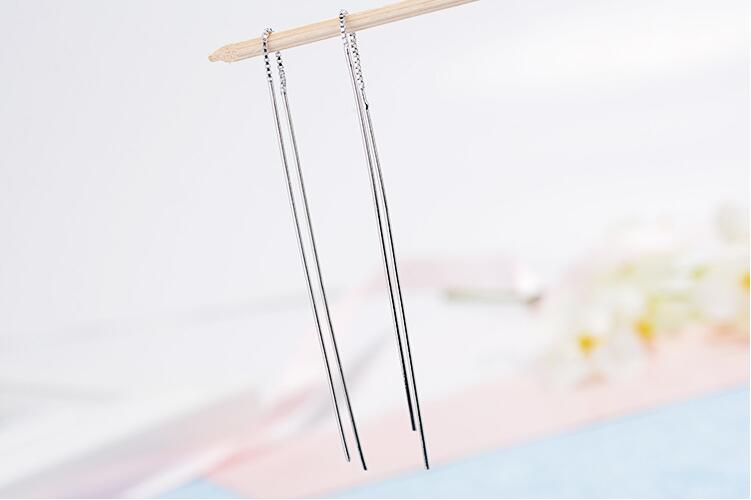 Free Shipping Hot Simple Popular Fashion 925 Sterling Silver Jewelry Wholesale Tide Long Tassel Female Dangle Earrings  SE277