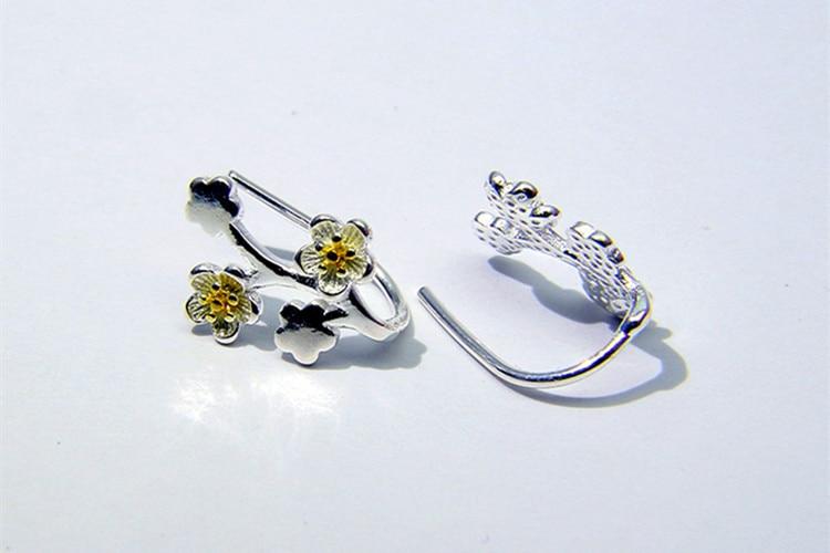 New Creative Fashion Plum Flower 925 Sterling Silver Jewelry Ear Hook Personality Branch Popular Women Earrings  SE781