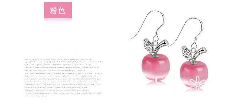 New Fashion Fruit Shaped Personality 925 Sterling Silver Jewelry Temperament Crystal Apple Female Dangle Earrings  SE295