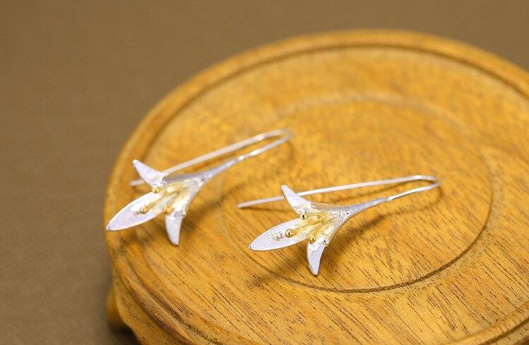 New Fashion Temperament Thai Craft Flowers 925 Sterling Silver Jewerlry Ear Hook Big Orchid Flower Popular Earrings SE90