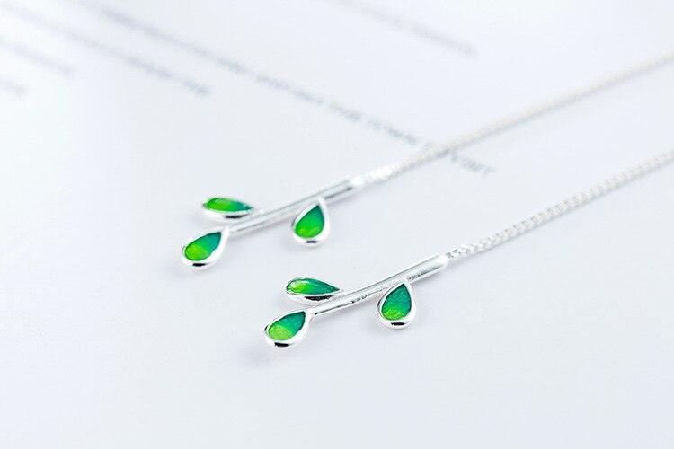 New Arrival Beautiful Colorful Leaf Ear Line 925 Sterling Silver Jewelry Personality National Women Gift Dangle Earrings SE792