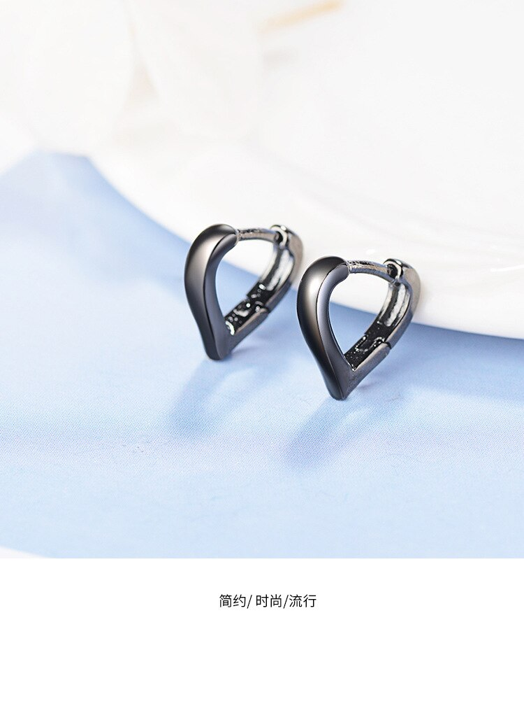 New Simple Love Ear Buckle Women Fashion 925 Sterling Silver Jewelry Heart Shaped Sweet Personality Dangle Earrings SE750