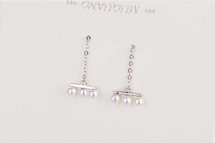 Beautiful Creative Popular 925 Sterling Silver Jewelry Personality Three Pearls Long Tassel Female Gift Dangle Earrings  SE318