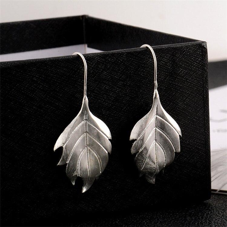 New Fashion Handmade Brushed Flower 925 Sterling Silver Jewelry Ear Hook Elegant Leaf Exquisite Popular Earrings  SE145