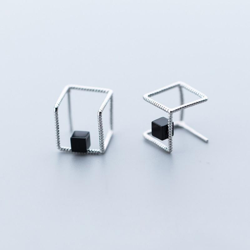 925 Silver Square Earrings Brincos Silver Jewelry Vintage Pendientes Minimalism Charm Party Gift Earrings for Women Oorbellen