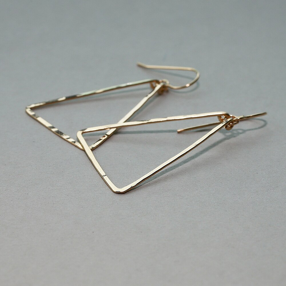 Handmade Triangle Earring Vintage Jewelry ize Gold Filled/Silver Orecchini Brincos Pendientes Earrings for Women Oorbellen