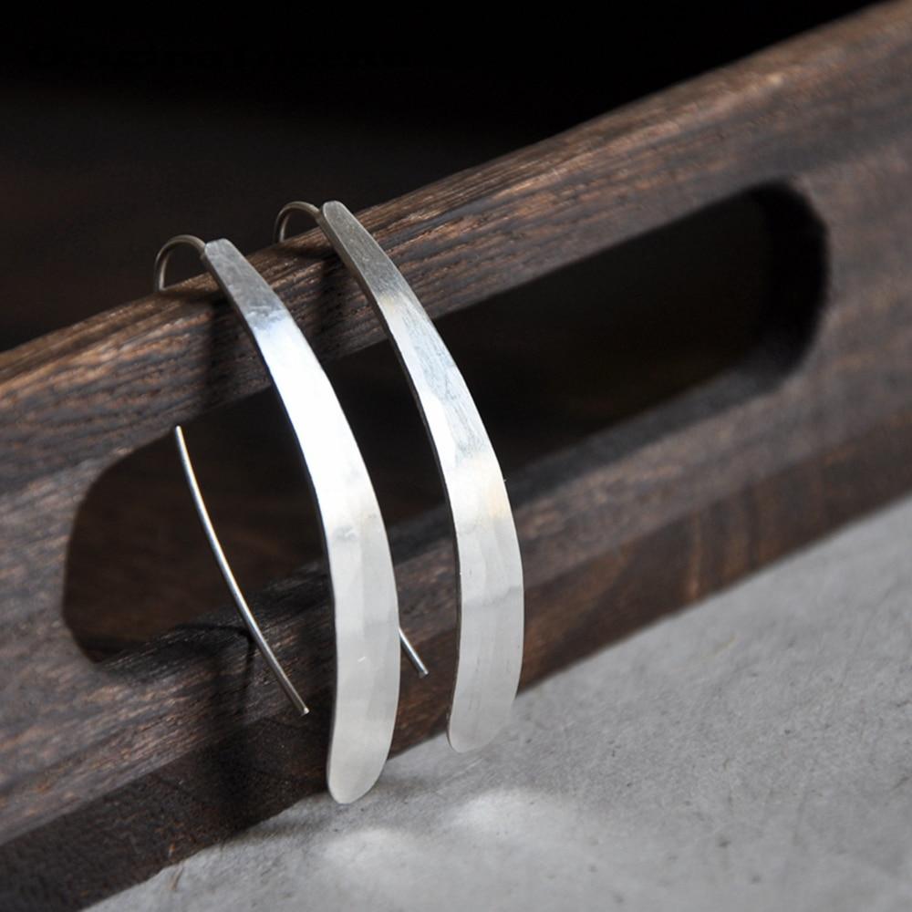 925 Silver Earrings Vintage Jewelry Long Bar Pendientes Minimalism Charm  Birthday Gift Oorbellen Brincos Earrings for Women