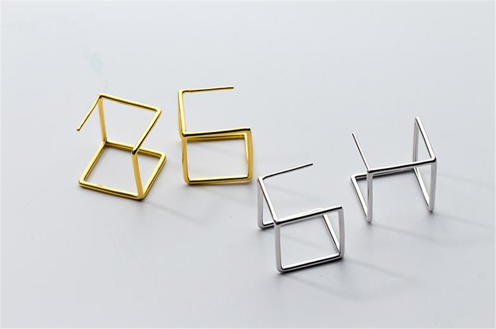 Silver 925 Earrings Square Brincos Jewelry Vintage Gold Pendientes Minimalism Charm Party Gift Earrings for Women Oorbellen
