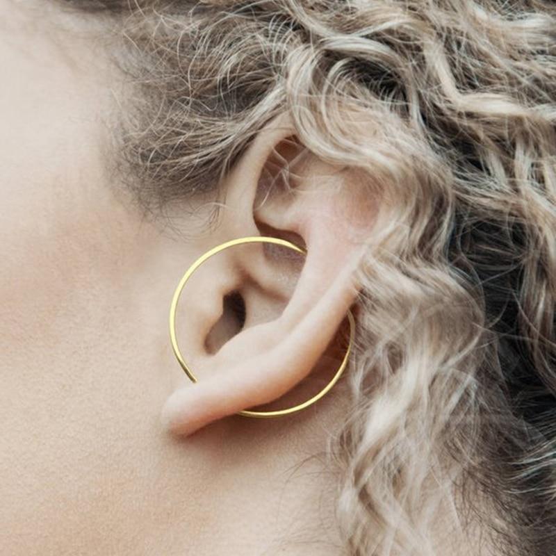 Gold Circle Ear Climber Handmade Triangle Earrings Gold Filled/925 Silver Jewelry Oorbellen Minimalist Earrings For Women