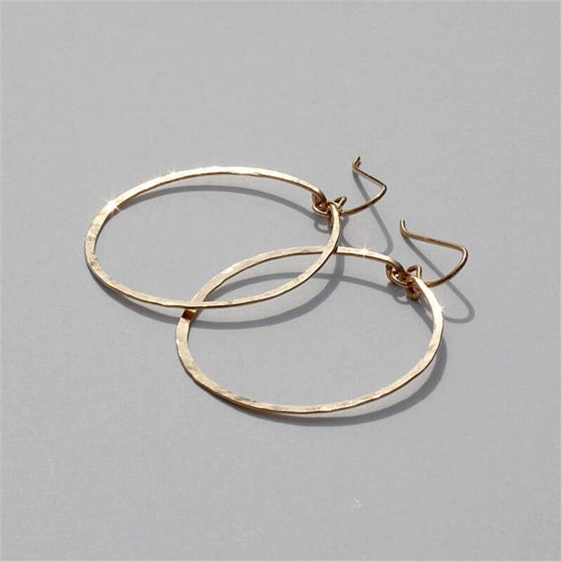 925 Silver Hammered Hoop Earrings Vintage Gold Filled Jewelry Handmade Orecchini Brincos Pendientes Oorbellen Earrings For Women