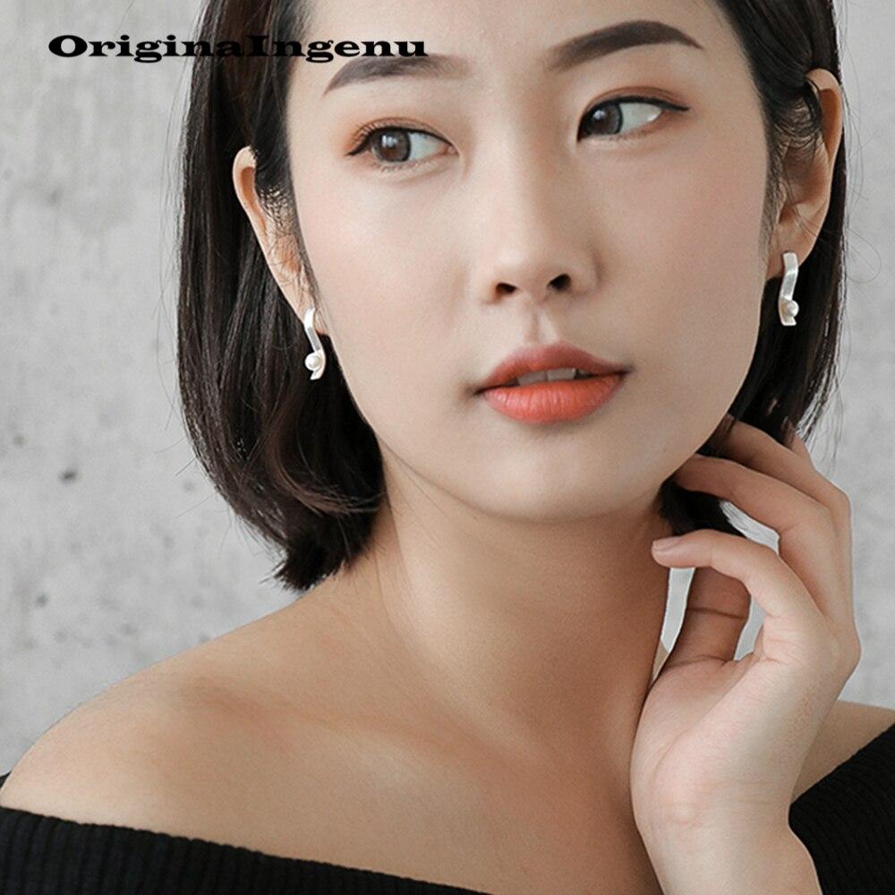925 Silver Earrings Pearl Brinco Jewelry Vintage Minimalism Geometry Birthday Gift Pendientes oorbellen Earrings for Women