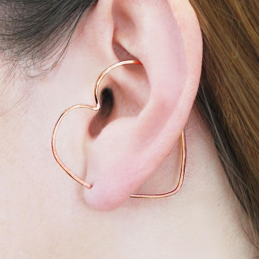 Heart Ear Cuff Ear Climber Handmade Earrings Gold Filled/925 Silver Jewelry Oorbellen Minimalist Earrings For Women