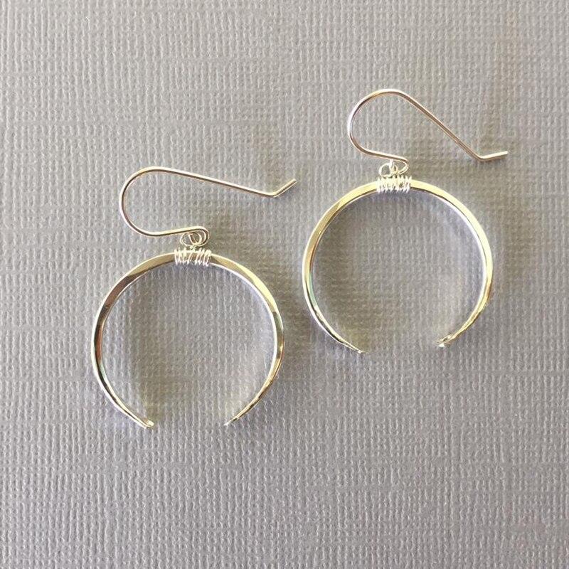 Hammered Moon Earrings Handmade 925 Silver Jewelry  Gold Filled Largos Boho Brincos Vintage Pendientes Earrings For Women