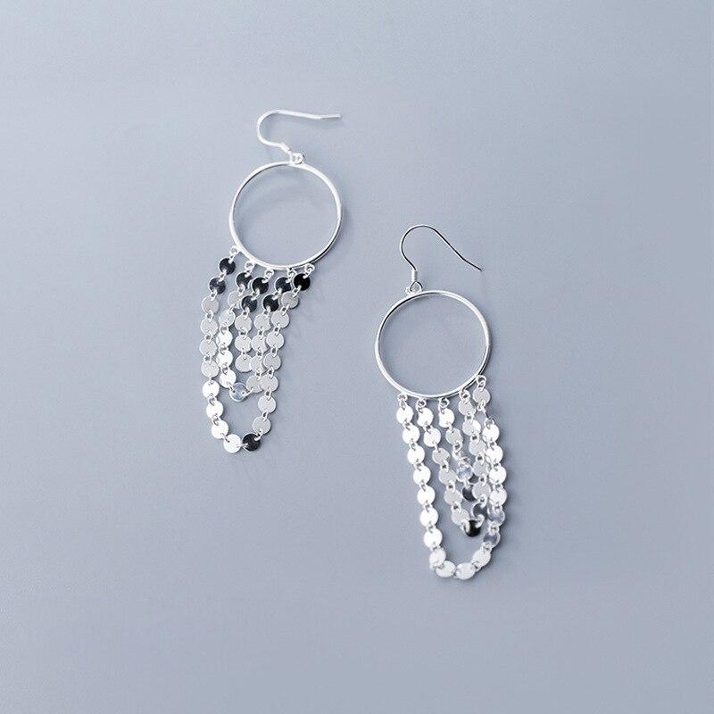 Circle Earrings 925 Silver Korean Earring Jewelry Brincos Minimalism Pendientes Kolczyki Oorbellen Earrings for Women Largos