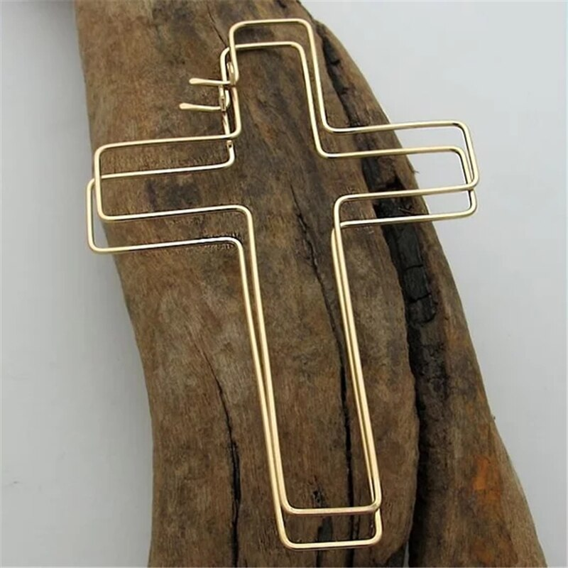 Cross Earrings Handmade Jewerly Gold Filled/925 Silver Vintage Boho Orecchini Brincos Oorbellen Pendientes Earrings For Women