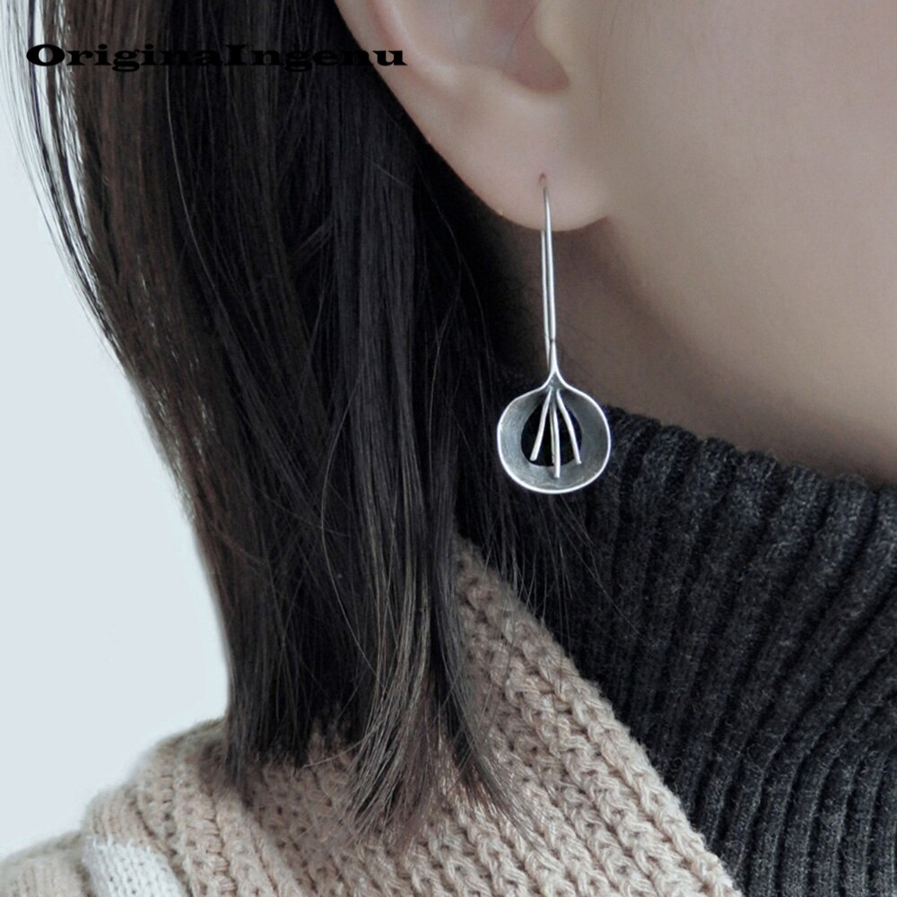 Jewelry 925 Silver Earrings Pendientes Minimalism Charm Vintage Flower Girlfriend Birthday Gift  Oorbellen Earrings for Women